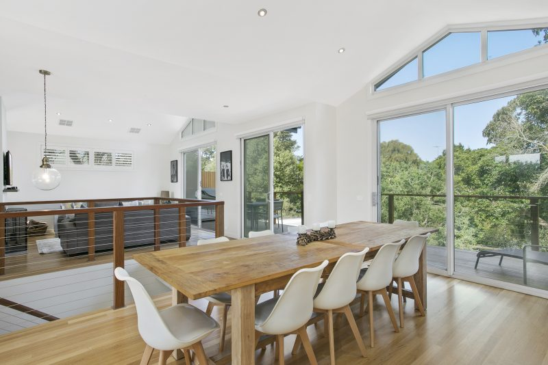 Above Cathedral Style Ceilings Creates A Wonderful Light Filled Space In This Reverse Living Design At Point Lonsdale