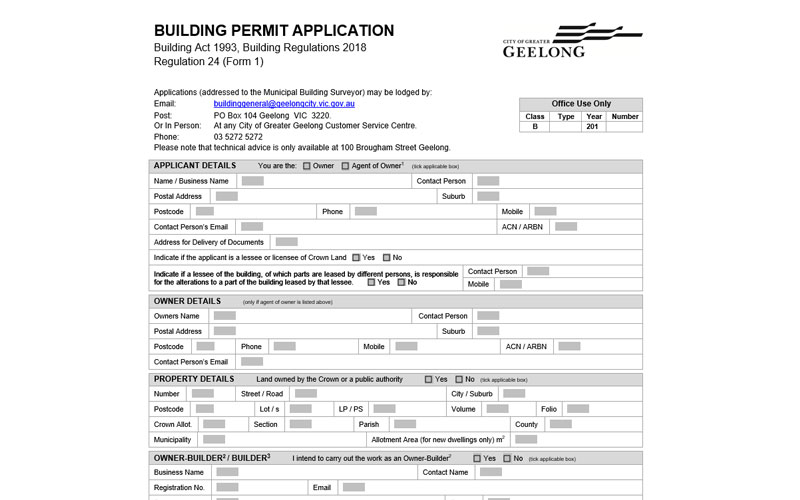 City of Greater Geelong Building Permit