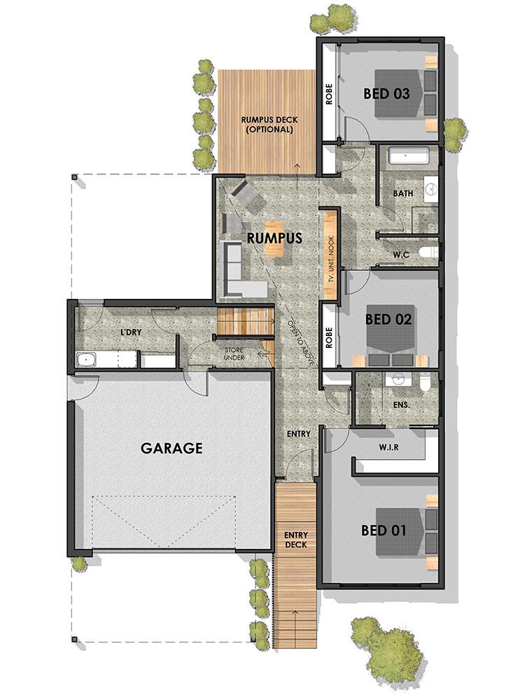 Essington Side Sloping Floor Plan Ground