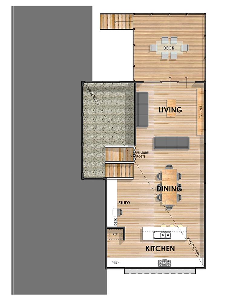 Wandana Side Sloping Floor Plan First Floor (Mirrored)