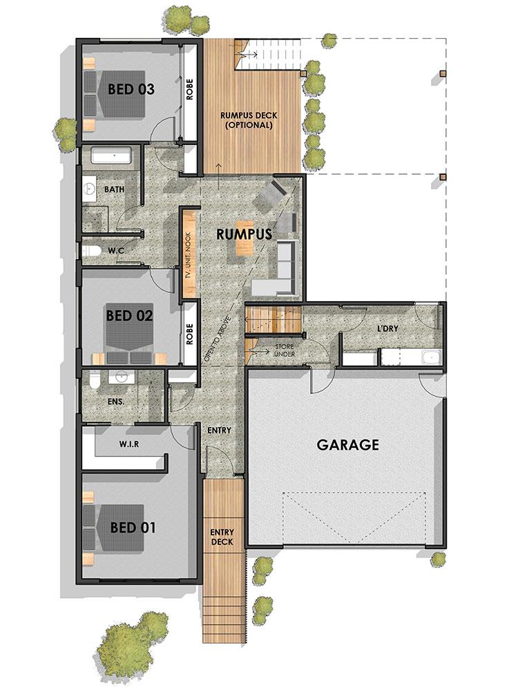 Wandana Side Sloping Floor Plan Ground (mirrored)